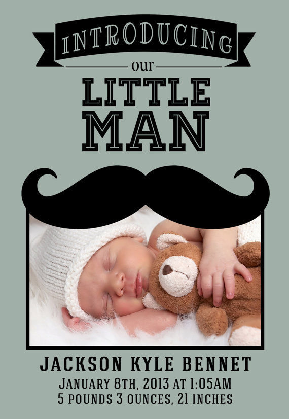 Little Man Mustache Birth Announcement