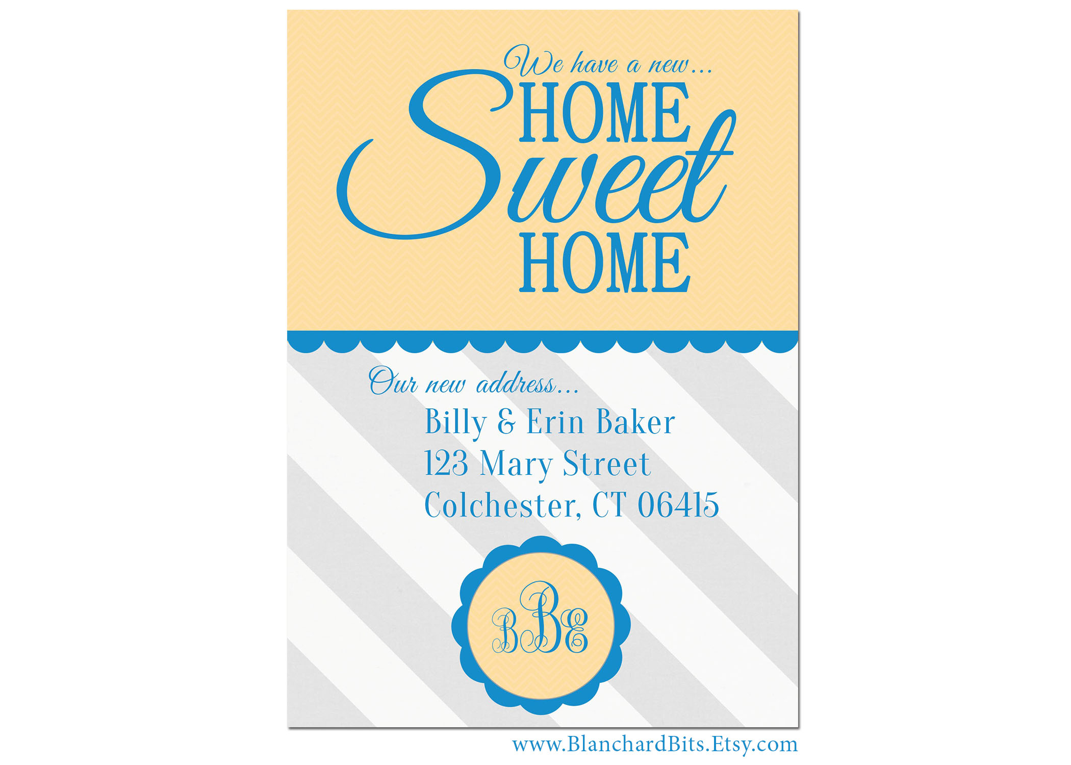 moving announcement home sweet home display