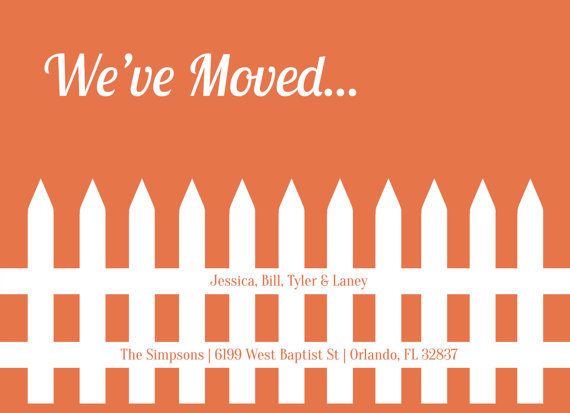 moving announcement postcard picket fence