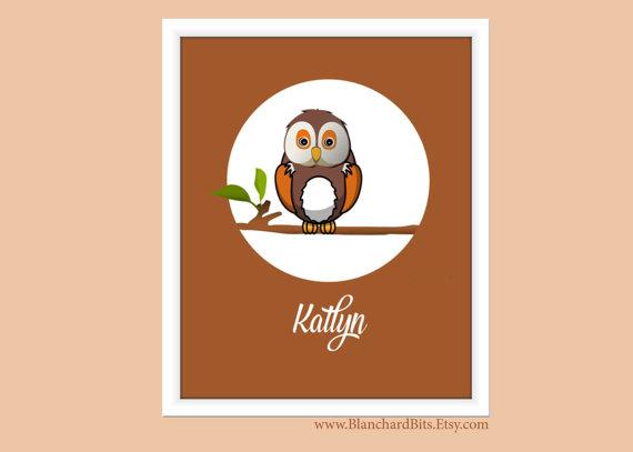 nursery art print owl with name