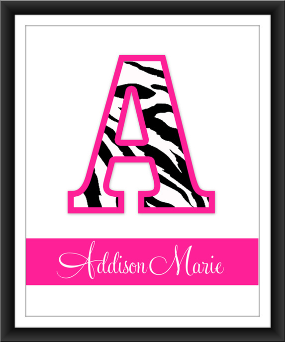 Pink Zebra  Letter Nursery Art - Copy