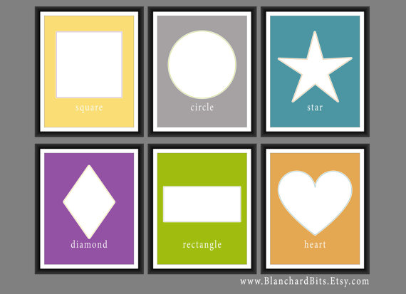 Shapes Nursery Art Prints Set