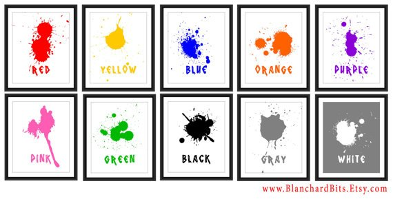 Unique Paint Splash Color Nursery Art Prints